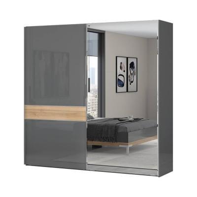 Tolóajtós magasfényű gardróbszekrény, 230x224 cm, tükörrel, antracit-tölgy - BISE